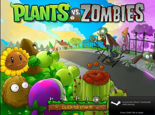 Plants vs Zombies opening screen